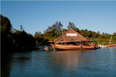 The Moorings Restaurant and its Dhow located along Mtwapa Creek