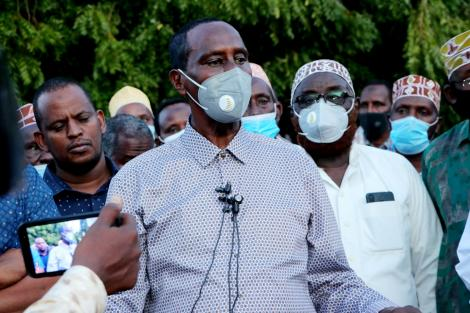 Wajir Governor Mohamed Abdi Mohamud during a press conference on April 27, 2021
