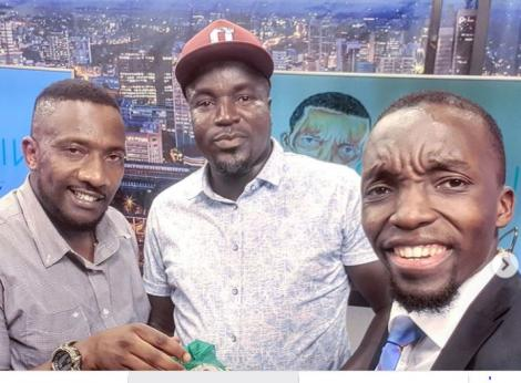 The Wicked Show host Felix Omondi, popularly known as Dr King'ori, (Right) with Miraa pick-up drivers Isaac Kuria and Justus Munene.