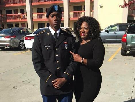 US Army Specialist Henry Mayfield (left) with his mother Carmoneta Horton-Mayfield