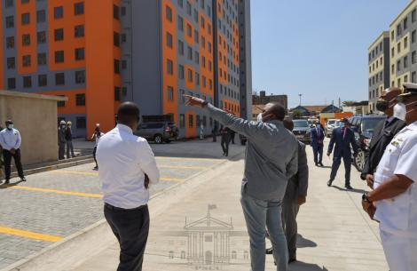 President Uhuru Kenyatta tours Nairobi Metropolitan housing projects in Nairobi's on Tuesday, June 30, 2020