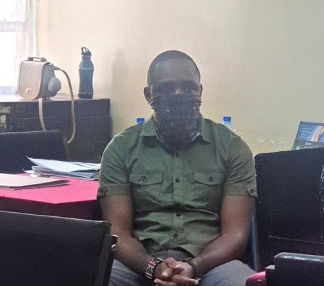 Boniface Mwangi pictured at Central Police Police Station on July 7, 2020.