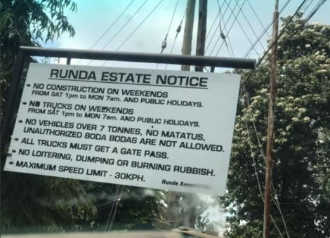 A signpost spelling out rules for access to Runda Estate in Nairobi.