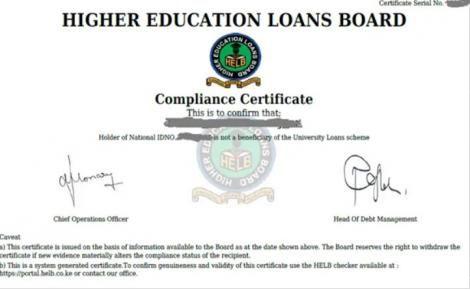 Specimen of a HELB Clearance certificate.