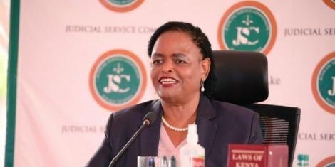 Court of Appeal judge Martha Koome appearing before the Judicial Service Commission (JSC) on Wednesday, April 14