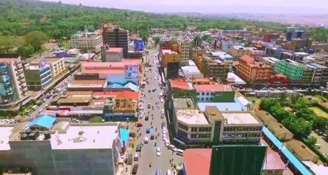 Aerial view of residential houses in Kenya