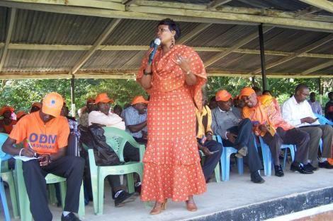 Joyce Lay Addressing the Public During an ODM Mashinani at Mwanyumba Stadium in Wundanyi, 2012 Source : Facebook