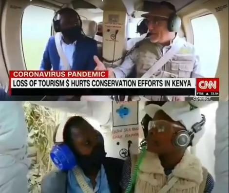 CNN Correspondent Larry Madowo interviews Tourism CS Najib Balala (top) and H-Town Kids re-enact the scene