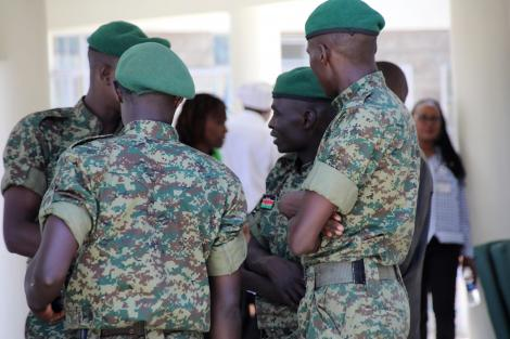 National Youth Service (NYS) Officers at the coronavirus isolation and treatment facility in Mbagathi District Hospital on Friday, March 6, 2020