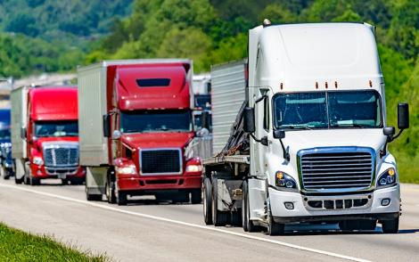 Trucks on a highwa in United States of America