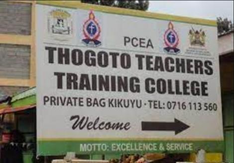 A signpost of Thogoto School, now Thogoto Teachers' Training College, established 1910.