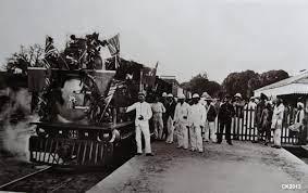 A metre gauge railway leaving the Kilindini harbour in 1898