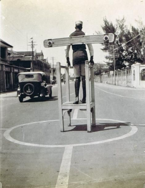 A traffic police officer in the 1940s era.