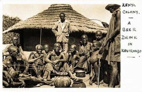 Undated image of Kavirondo men communally enjoying traditional brew