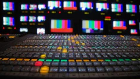 A vision mixer in a busy newsroom