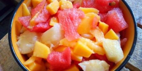 An image of a plate with fruit salad