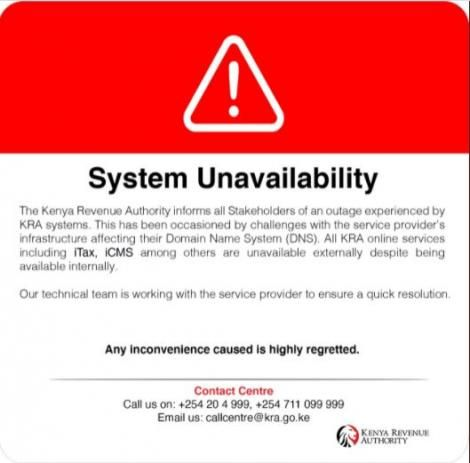 System failure statement issued by KRA on Monday, June 7, 2021.