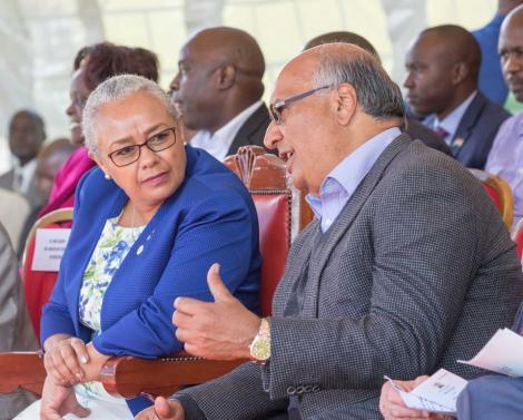 File photo of First Lady Margaret Kenyatta and Sameer Africa founder Naushad Merali