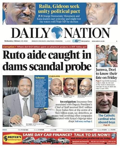 Deep scandals involving DP Ruto