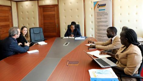 Photo of Representatives of the British High Commission discussing with the Registrar of Political Parties Ms Ann Njeri Nderitu taken on July 1, 2021, at the ORPP.
