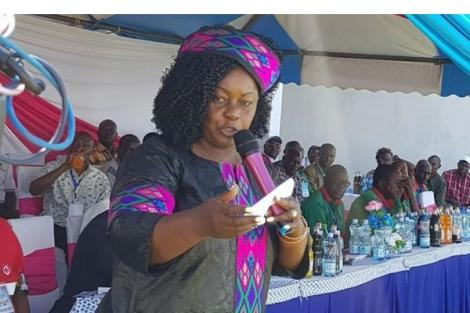 A photo of Suba North MP Millie Odhiambo speaking during a function on February 20, 2020.