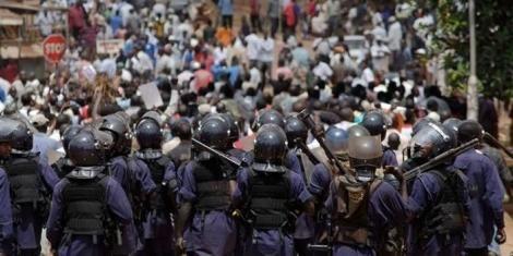 Undated image of Ugandan police officers