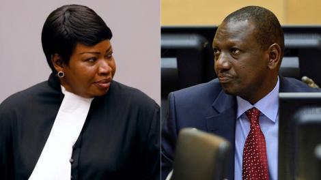 ICC Prosecutor Fatou Bensouda (left) and Deputy President William Ruto (right).