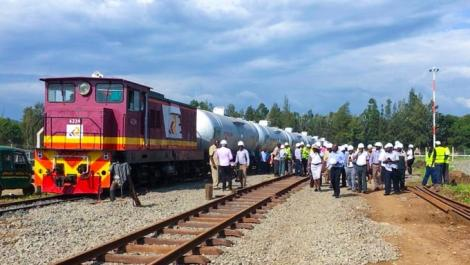 A train pictured on the NCPB Kisumu railway line in July 2020.