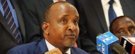 Garissa Town MP Aden Duale addresses journalist at Parliament Buildings in 2019