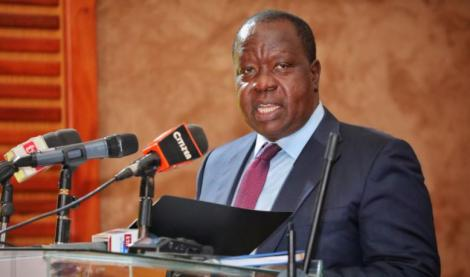 Interior CS Fred Matiang'i speaks during the launch of Inspector General of Police Conference.