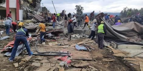 Traders comb through rubble in Nakuru after 300 businesses were demolished on Sunday, October 11, 2020.