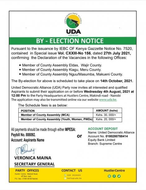 Notice issued on Thursday, July 29, by UDA Secretary-General Veronica Maina