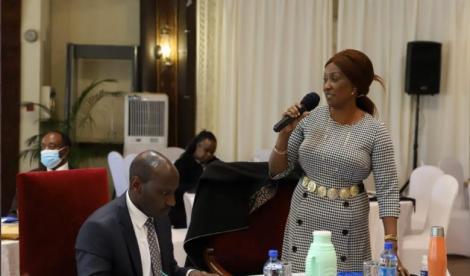 TSC CEO Nancy Macharia addressing teachers at Safari Park Hotel on Tuesday, July 13, 2021