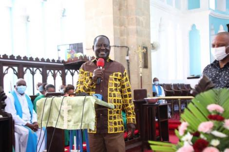 ODM leader Raila Odinga speaking at the A.C.K Mombasa Memorial Cathedral in Mvita constituency, on Sunday August 8.