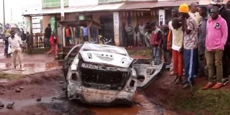 Vehicle torched by Kimilili residents on Saturday, August 14, 2021