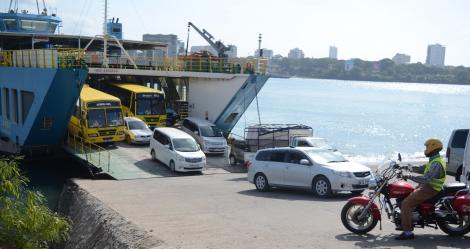 Cars disembarking from a ferry in Likoni, Mombasa