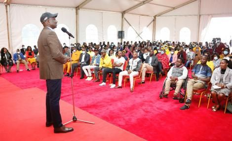 DP Ruto speaking to more than 600 Nairobi County political aspirants from UDA at his Karen residence on Aug 18, 2021.