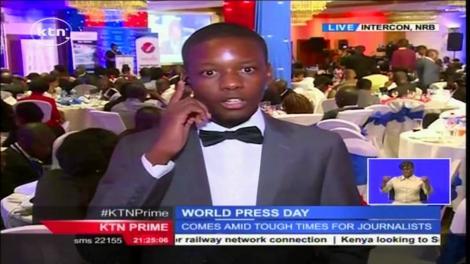 KTN News Presenter Timothy Otieno providing coverage of a past event in Nairobi
