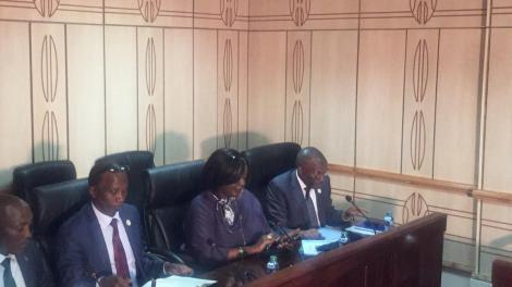 Cabinet Secretary Foreign Affairs Raychelle Omamo addressing a special parliamentary committee regarding the coronavirus on February 27, 2020.