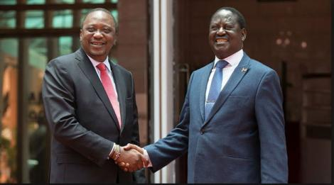 President Uhuru Kenyatta's shakes hands with former Prime Minister Raila Odinga on March 9, 2018.