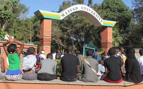 Students outside Maseno University gate.
