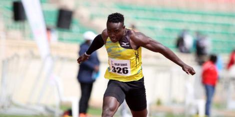 Ferdinand Omanyala competes in 100m heat during the second leg of Athletics Kenya (AK) Relay