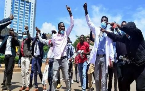 University students during a past demonstration in front of the HELB offices at the anniversary Towers in Nairobi in 2018