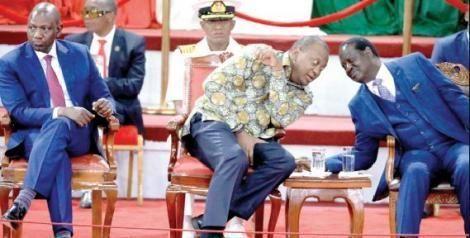 Ruto, Uhuru and Raila at The Bomas of Kenya