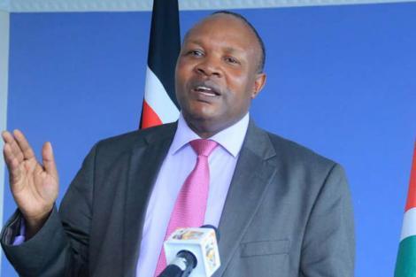 Kericho Governor Paul Chepkwony addresses the media in June 2018