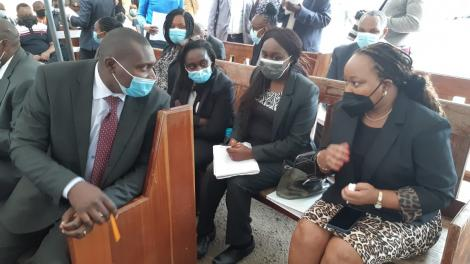 Kirinyaga Governor Anne Waiguru (right) at Milimani courts on Wednesday, May 19, 2021.