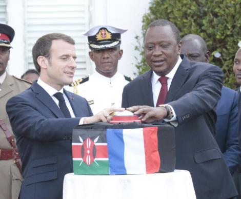 President Uhuru Kenyatta and President Emmanuel Macron when he visited Kenya