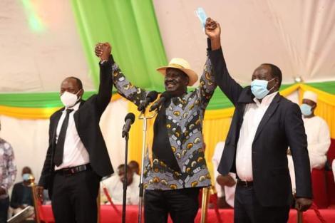 Raila reconciles Governor Otichilo and His Deputy Saisi.