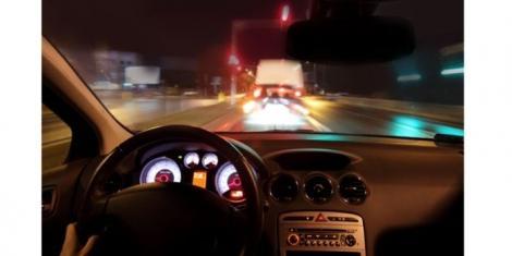 A motorist driving at night