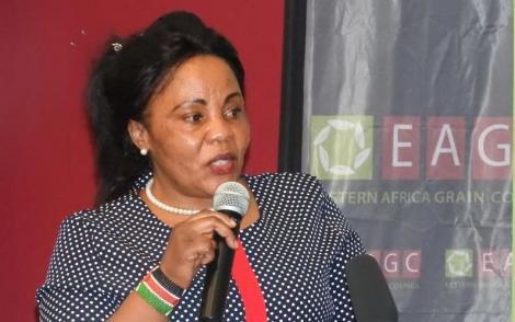 TVET Principal Secretary Margaret Mwakima giving an address at a previous function